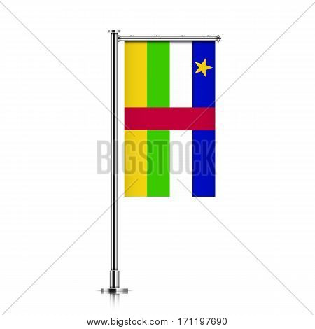 Central African Republic vector banner flag hanging on a silver metallic pole. Central African Republic vertical flag template isolated on a white background.