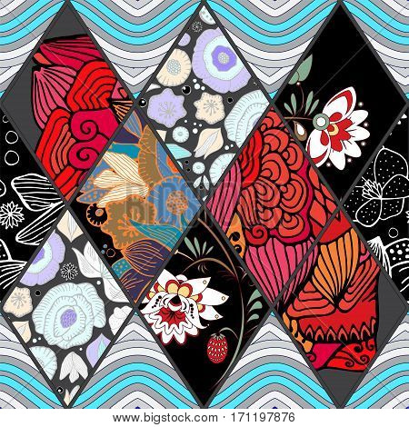 abstract seamless patchwork tile with floral ornament.arabic or orient pattern. vintage style