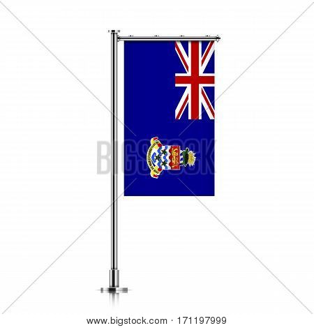 Cayman Islands vector banner flag hanging on a silver metallic pole. Cayman Islands vertical flag template isolated on a white background.