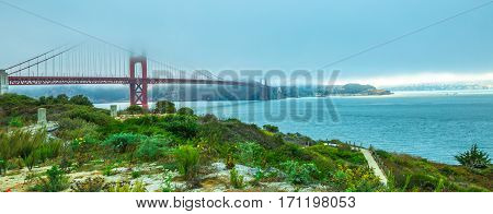 Panorama of Golden Gate Bridge with green grass as foreground from south shore. Symbol, icon and landmark of San Francisco, California, United States. Fog in summer. American travel concept.