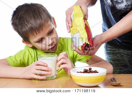 Mom Prepares Breakfast For Little Boy Isolated