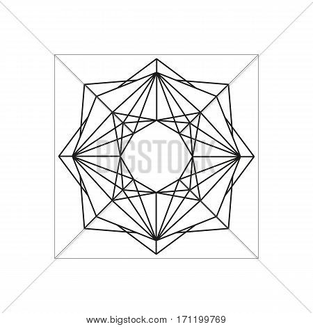 Abstract geometric symbol isolated on white background. Symmetric black outline web design element. Can be used as a coloring book page. Vector