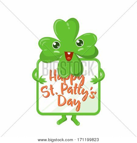 Vector illustration of four leaved green emoji clover with celebration poster in his hands for saint Patricks day greeting isolated on white background