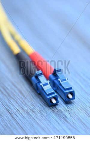 Closeup of Fiber Optical Cables Plug Type LC