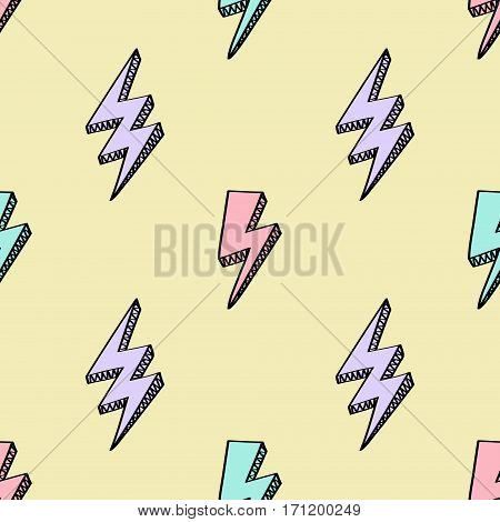 Vector Abstract Retro Pattern With Lightning Bolts. Trendy Thunder Background In Comics Style.