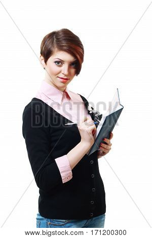 business women standing and writing down on note book on white background