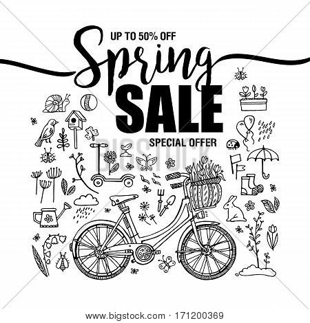 poster Spring sales, set of black icons and symbols with bike on a white background, flyer templates with lettering. Typography poster, card, label, banner design element. Vector illustration