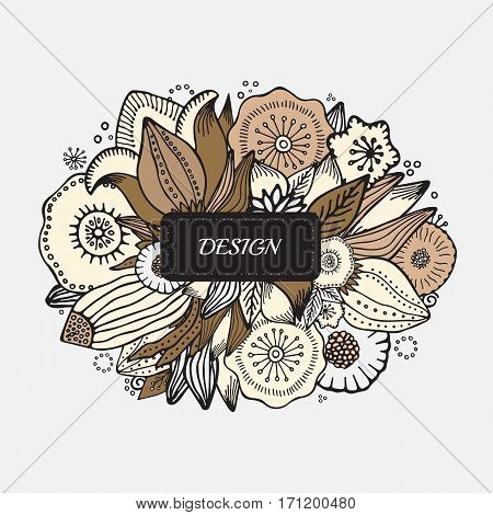 stock vector abstract hand draw flower and wave doodle bouquet. oriental or arabic art background. template for card. banner