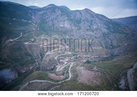 Color image of a mountain twisty road.