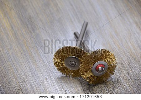 Steel Wire Wheel Brushes for Cleaning on Metal Background with Selective Focus