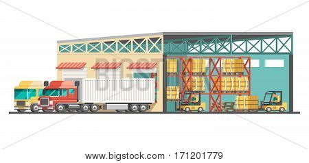 Delivery service concept.Truck, pallets and warehouse. 3d vector illustration.