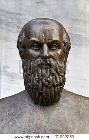 statue of ancient Greek poet Aeschylus in Athens.
