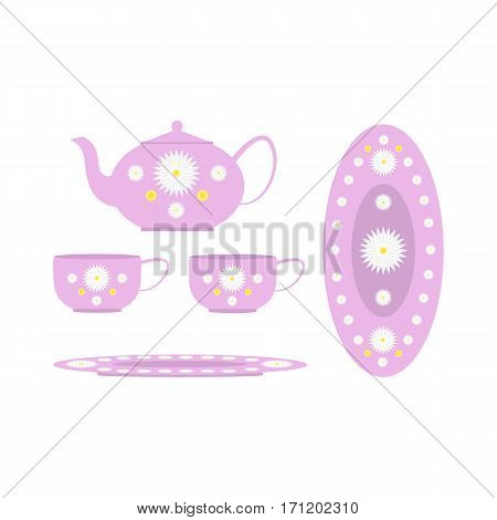 Tea set decorated with flowers, cups, kettle and large plate isolated on white background