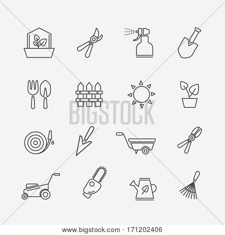 Gardening line icons. Gardener tools and garden elements outline signs. Fence and secateurs, lawn mower and sprayer vector. Illustration of linear tools for garden