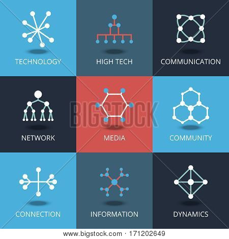 Technology icons. Vector signs for tech and connection, network and communication. Connection to information, dynamics digital illustration
