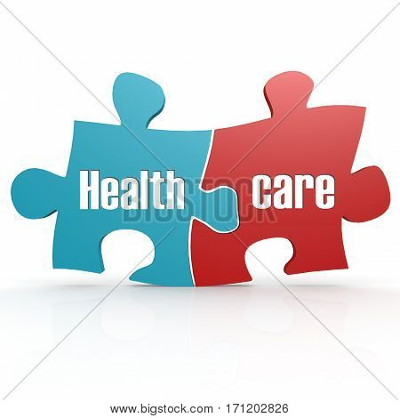 Blue And Red With Healthcare Puzzle