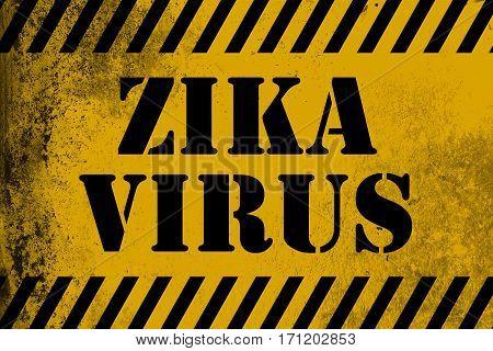 Zika Virus Sign Yellow With Stripes