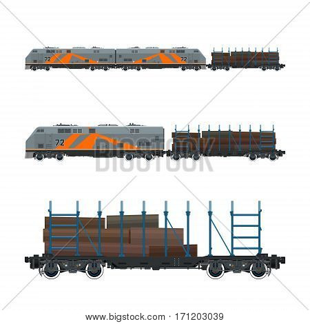 Locomotive with Railway Platform for Timber Transportation, Train, Railway and Cargo Transport, Vector Illustration
