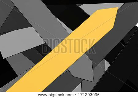Group Of Black Arrows And Yellow Arrow Pointing Upward