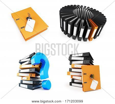 Office folder set on a white background 3D illustration