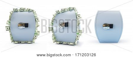Safe full of dollars on a white background 3D illustration