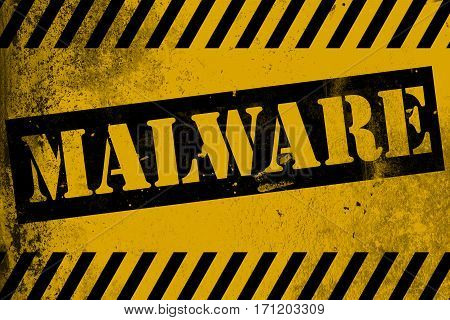Malware Sign Yellow With Stripes
