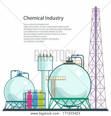 Chemical Plant and Text , Refinery Processing of Natural Resources Isolated on White Background, Industrial Pipes , Poster Brochure Flyer Design, Vector Illustration