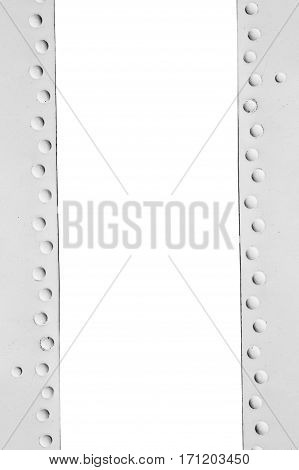 metal frame with rivets and space for text.