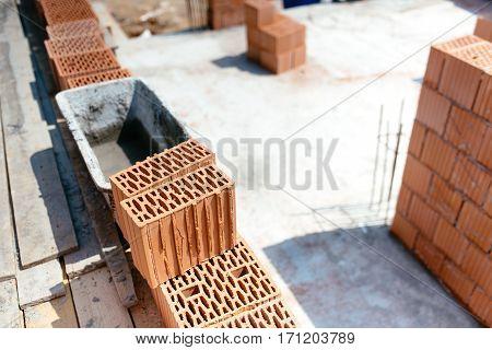 Industrial Construction Site Building Details. Brick Walls And Mortar
