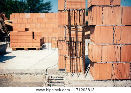 Site Of New Building, Details Of Brickwork And Reinforcements With Steel Bars And Wire Rod