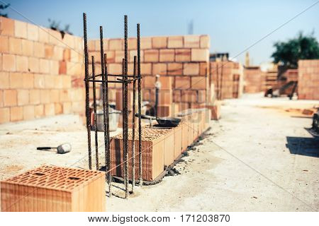 Industrial Construction Site, Placing Bricks On Cement While Building Exterior Walls, Industry Detai