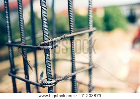Details Of Steel Reinforcement On Construction Site.