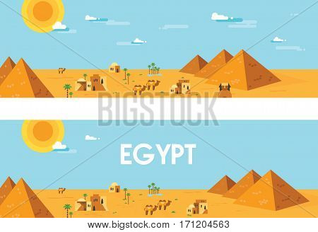 web banner of accient egypt. Editable Vector and Illustration