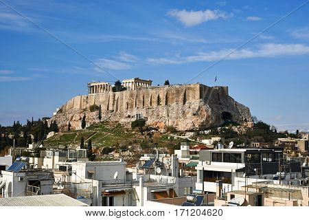 view of Parthenon in Akropolis Athens, Greece