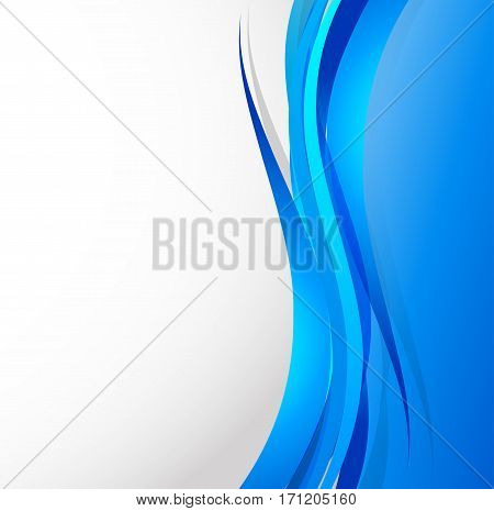 Abstract wavy design background with blue curved elegant lines in smooth dynamic style. Vector illustration