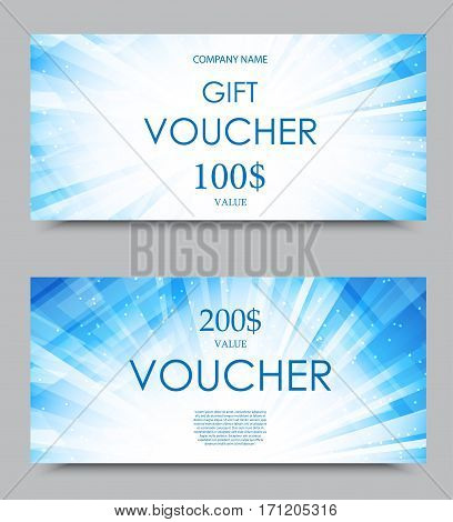 Gift company voucher template on two and one hundred dollars with digital blue bright flashing pattern. Vector illustration