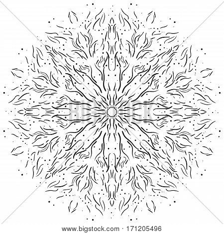 Intricate hand-drawn web design element. Floral mandala decorative symbol isolated on white background. Vector