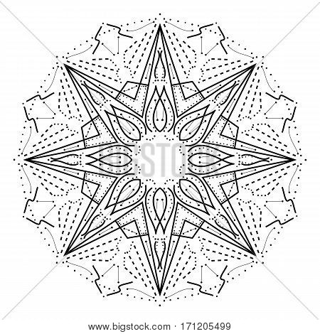 Intricate geometric mandala. Stylized abstract star decorative design element. Black outline isolated on white background. Can be used as a coloring book page. Vector