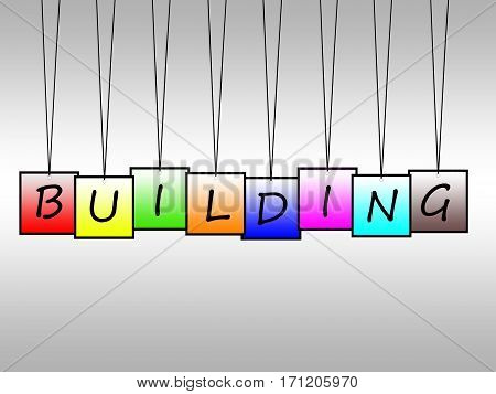 Illustration of building word written on hanging tags
