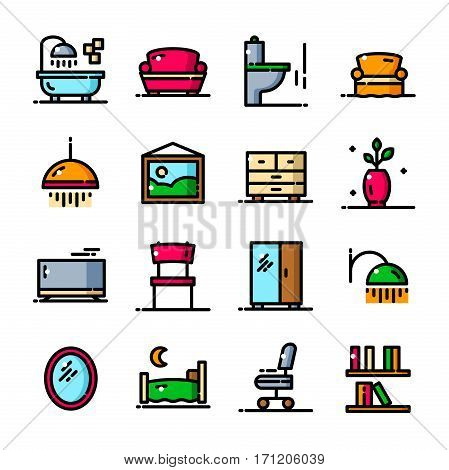 Thin line Apartment icons set, Home interior elements outline logos vector illustration