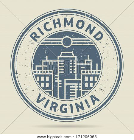Grunge rubber stamp or label with text Richmond Virginia written inside vector illustration