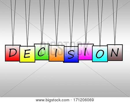 Illustration of decision word written on hanging tags