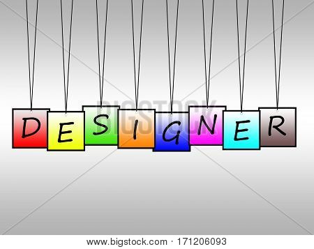 Illustration of designer word written on hanging tags