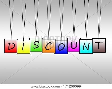 Illustration of discount word written on hanging tags