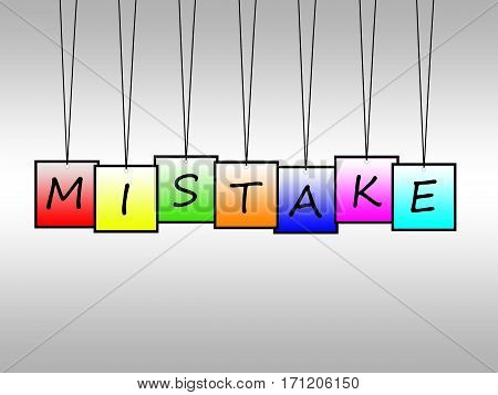 Illustration of mistake word written on hanging tags