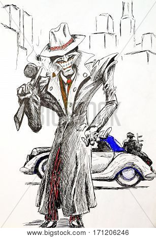 American Gangster 30S Of The Twentieth Century. Figure Gel Pen