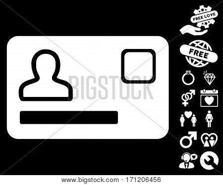 Banking Card icon with bonus lovely design elements. Vector illustration style is flat iconic white symbols on black background.