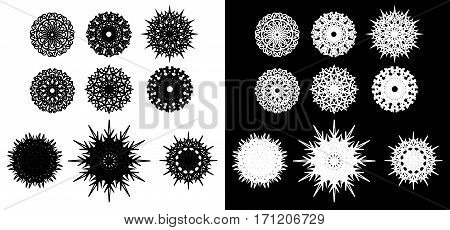 Set of round spirograph symbols. Decorative design elements isolated on white and black background. Flowers stars and snowflakes. Vector