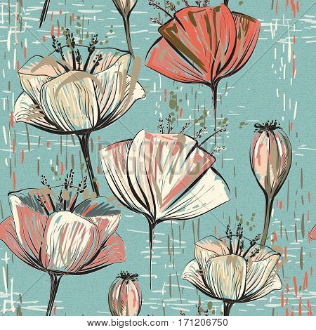 Vector colorful tulips pattern. Seamless can be used for wallpapers, fills, web page backgrounds