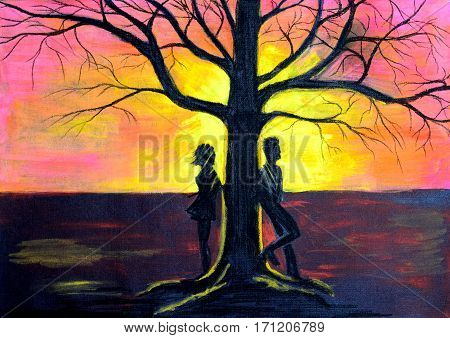 Love Couple Near A Tree At Sunset.